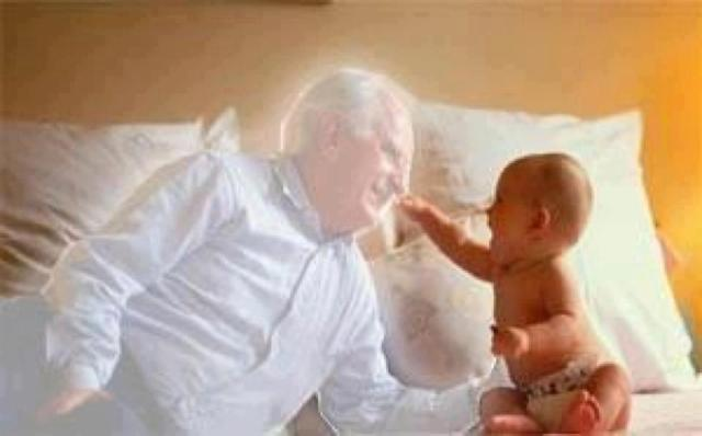 A demon impersonating  a baby's GrandFather.