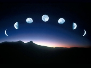 The moon in phases.