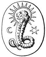 A lion faced deity found on a Gnostic gem.