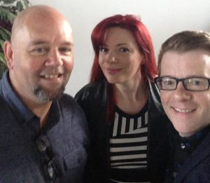 Laura with James Perry and Jason Carter.
