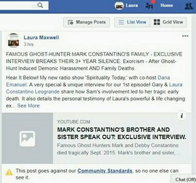 Facebook Removed Laura Maxwell's Radio Interview: EXORCISM OF LAURA